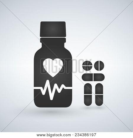 Cardio Heart Pill Bottle Icon. Modern Pill Bottle For Pills Or Capsules. Flat Style Vector Illustrat