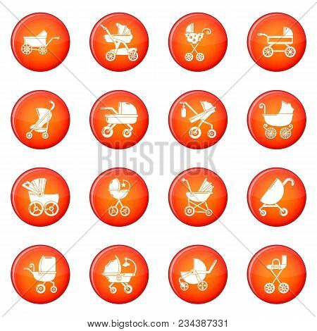 Baby Carriage Icons Set Vector Red Circle Isolated On White Background