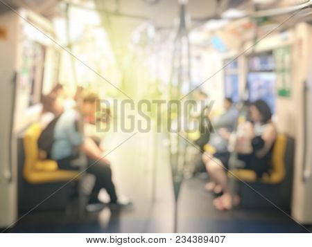 Blurred Image Of Passenger Or City People Lifestyle Inside The Train Subway Station, Transport In Ru