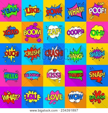 Comic Colored Sound Icons Set. Flat Illustration Of 25 Comic Colored Sound Vector Icons For Web
