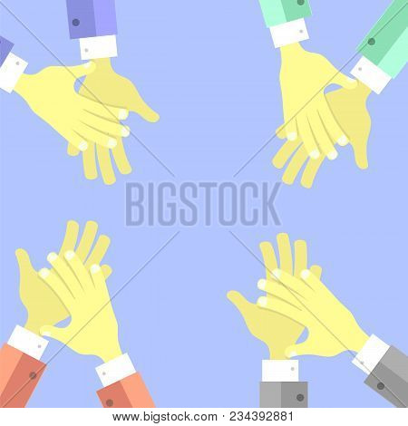 Clapping Hands On Blue Background. Flat Design