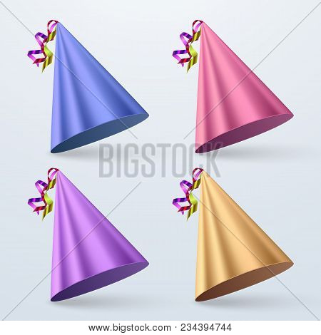 Birthday Hat Set. Party Hat Set Isolated On A White. Vector Fun Decoration. Colorful Surprise Costum