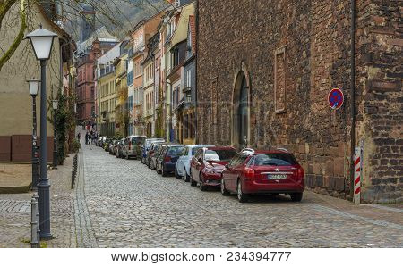 A Street From Touristic City Center On March 31, 2018 In Heidelberg, Baden Wurttemberg, Germany.