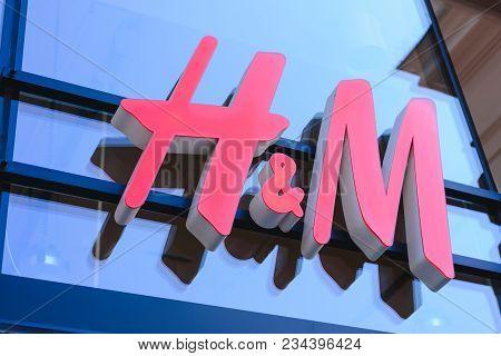 Prague, Czech Republic - May 2017: Close Up Shot Of H&m Logo. H & M Hennes & Mauritz Ab Is A Swedish