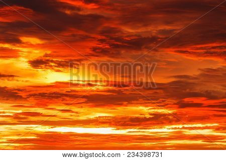 Sky Image With  A Dramatic Red Clouds After Sunset