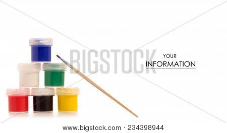 Gouache Paint Brush For Drawing Pattern On A White Background Isolation