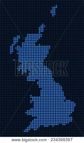 Dotted Pixelated Great Britain Map. Vector Geographic Map In Blue Colors. Vector Concept Of Great Br
