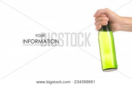 Glass Bottle Of Soda Carbonated Lemonade Water In Hand Pattern On A White Background Isolation
