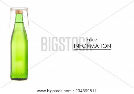 Glass Bottle Of Soda Water And Glass Pattern On A White Background Isolation