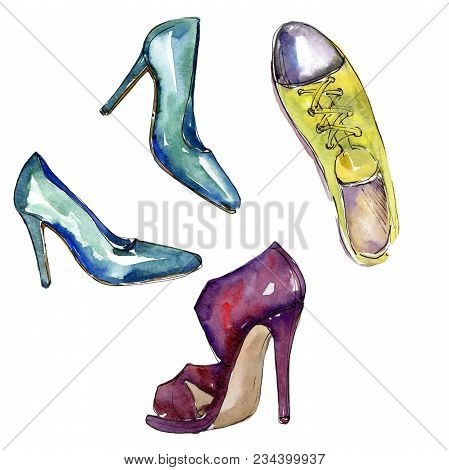 Fashionable Accessories  Glamour Illustration. Clothes Accessories Set Trendy Vogue Outfit. Aquarell