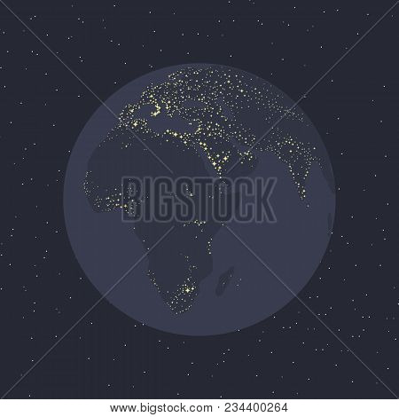 planet gray-blue earth shining continents illumination light civilization Eurasia africa of the sea in space against the background of stars ecology astronomy poster