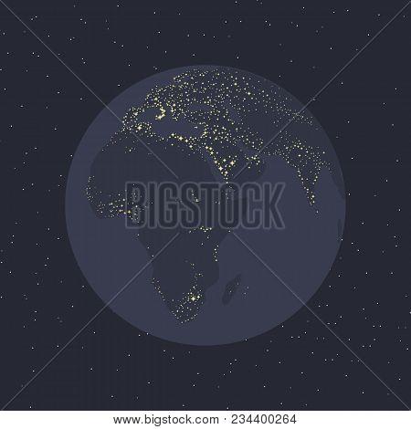 Planet Gray-blue Earth Shining Continents Illumination Light Civilization Eurasia Africa Of The Sea