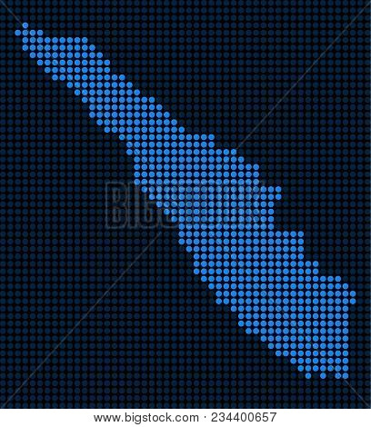 Dotted Pixel Sumatra Island Map. Vector Geographic Map In Blue Colors. Vector Composition Of Sumatra