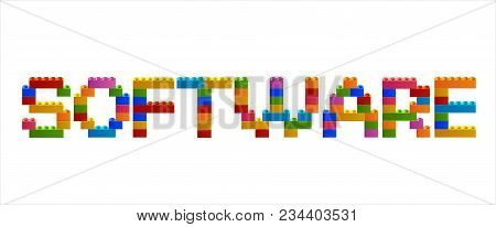 Word Software From The Blocks Of The Constructor. A Word From The Constructor. Multicolored Words Wi