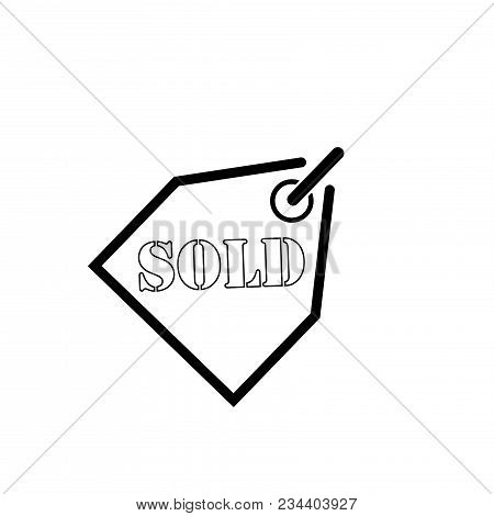 Grunge Sold Icon. Vector Illustration On White Background