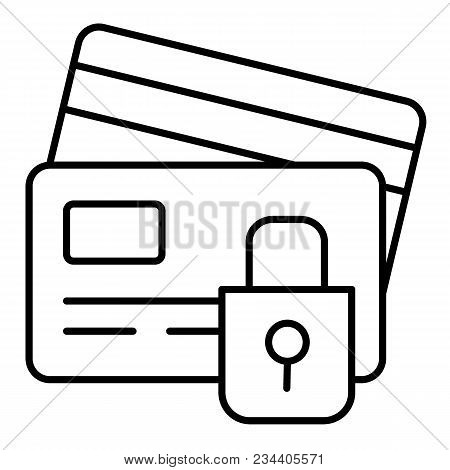 Credit Card Security Icon In Outline Style Isolated On White Background. E-commerce Symbol Stock Vec