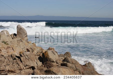 This Is An Image Of The Incoming Tide Along The Coast Of Pacific Grove, California.