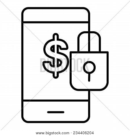 Financial Lock Vector Icon. Online Banking With Lock. Illustration Isolated On White. Flat Outline D