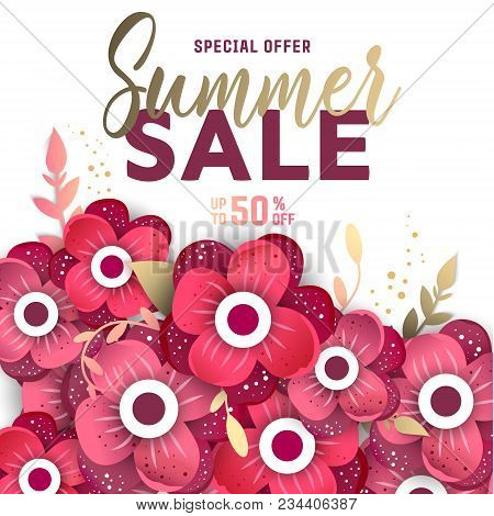 Summer sale design vector photo free trial bigstock summer sale design layout for banner advertisement card poster background with origami mightylinksfo