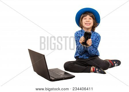 Happy Little Executive Boy Showing Smartphone  Isolated On White Background