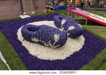 Noordwijkerhout, Netherlands - April 21,  2017: Traditional Clogs Made Of Hyacinths At The Tradition