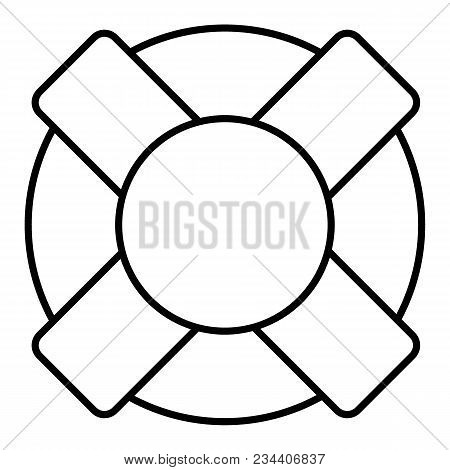 Vector Illustration Of The Lifebuoy In Black And White Colors. Flat Outline Icon. Eps 10.