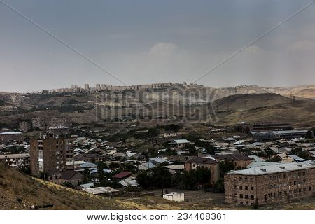 View  Periphery Of Yerevan, The Capital Of Armenia In Slightly Misty Weather