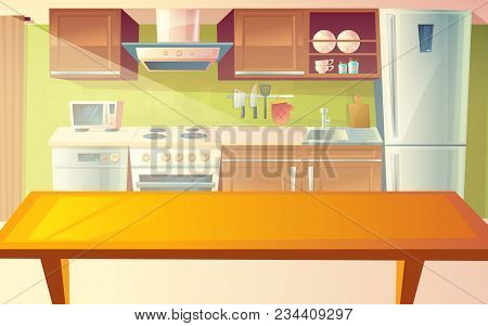 Vector Cartoon Illustration Of Cozy Modern Kitchen With Dinner Table And Household Appliances, Fridg