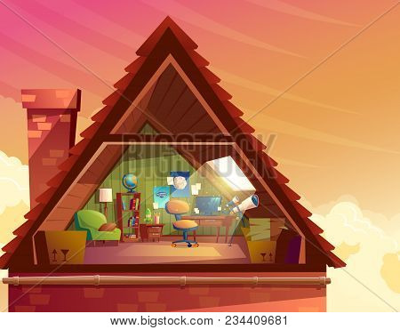Vector cartoon illustration of attic, mansard, loft under the roof of building for accommodation or storage. Top floor of private house, room to observe the sky with furniture, interior inside poster