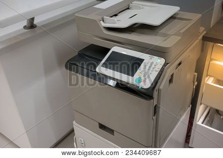 Dark Grey Copy Machine In Office Or Store Ready To Use.