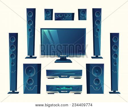 Vector Home Theater, Audio Video System, Acoustic Equipment, Stereo Technology. Electronic Amplifier