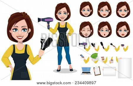 Hairdresser Woman In Professional Uniform. Beautiful Lady Stylist Cartoon Character Creation Set, Pa