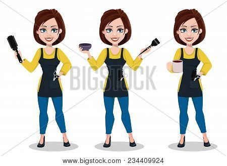 Hairdresser woman in professional uniform, set of three poses. Beautiful lady stylist cartoon character holds tools and holds coffee. Vector illustration poster