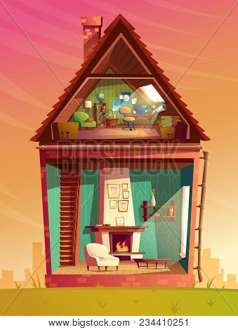 Vector House Interior Cross Section, Cartoon Children Playroom At Attic With Furniture And Living Ro