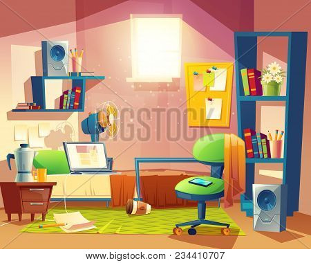 Vector Small Room With Mess, Cartoon Bedroom, Dormitory With Furniture. Student, Pupil Cozy Apartmen