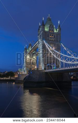Tower Bridge In The Night, London, England.