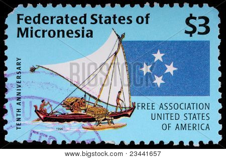 A 3-dollar Stamp Printed In The Federated States Of Micronesia