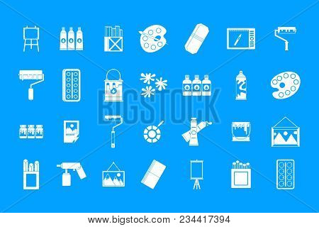 Paint Tools Icon Set. Simple Set Of Paint Tools Vector Icons For Web Design Isolated On Blue Backgro