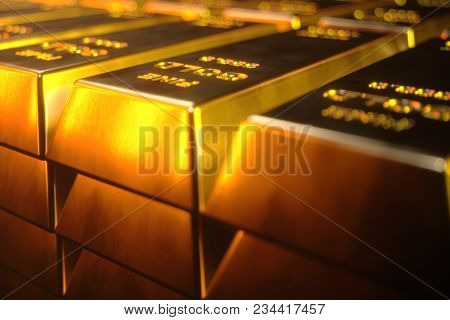 Stack Close-up Gold Bars, Weight Of Gold Bars 1000 Grams Concept Of Wealth And Reserve. Concept Of S