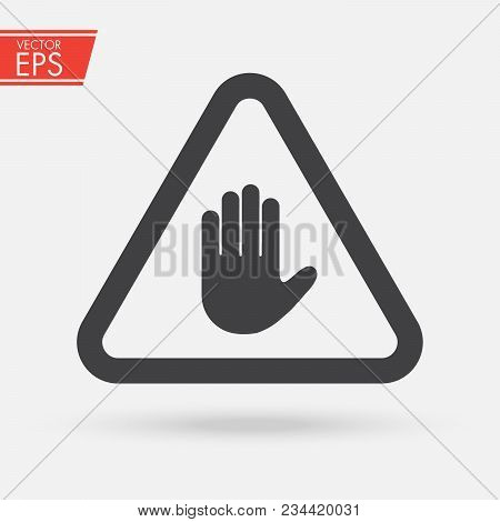Stop Sign Push Hand. Do Not Enter Stop Symbol With Hand. Silhouette Of Human Open Palm. Hand Gesture