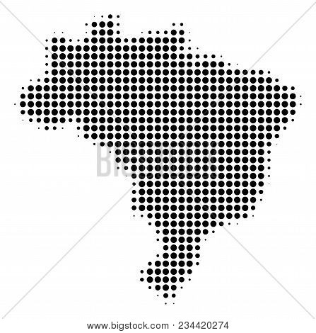 Brazil Map Halftone Vector Icon. Illustration Style Is Dotted Iconic Brazil Map Icon Symbol On A Whi