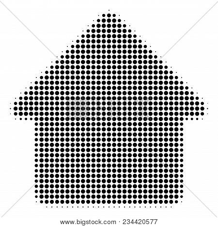 Cabin Halftone Vector Icon. Illustration Style Is Dotted Iconic Cabin Icon Symbol On A White Backgro