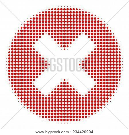 Cancel Halftone Vector Pictogram. Illustration Style Is Dotted Iconic Cancel Icon Symbol On A White