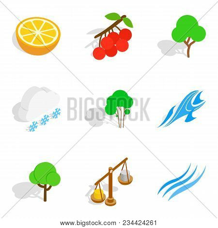 Ecological City Icons Set. Isometric Set Of 9 Ecological City Vector Icons For Web Isolated On White