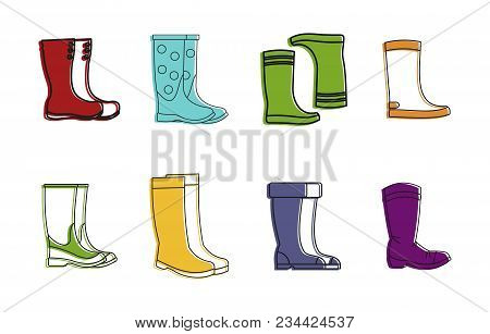 Boots Icon Set. Color Outline Set Of Boots Vector Icons For Web Design Isolated On White Background