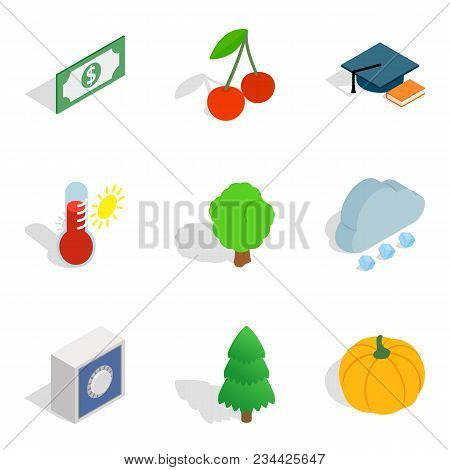 Environmentally Sound Icons Set. Isometric Set Of 9 Environmentally Sound Vector Icons For Web Isola