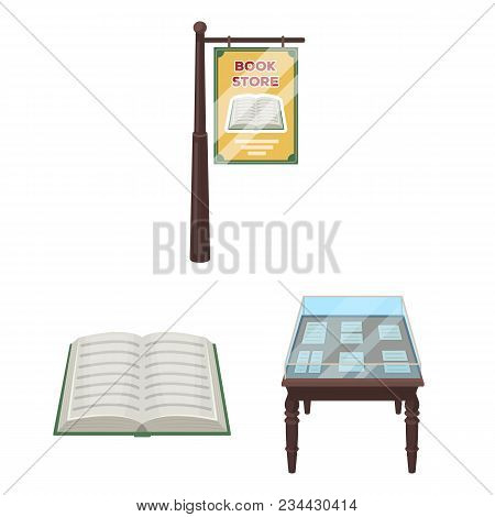 Library And Bookstore Cartoon Icons In Set Collection For Design. Books And Furnishings Vector Symbo