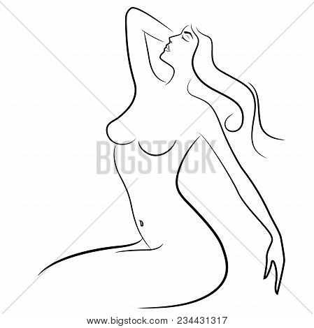 Abstract Female Graceful Relaxing Body, Sketching Vector Illustration