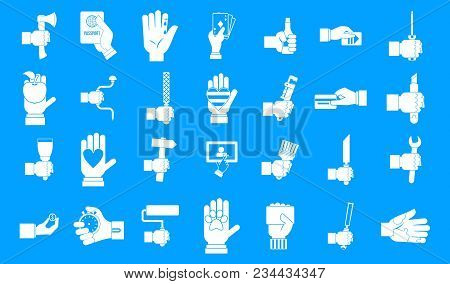 Hand Object Icon Set. Simple Set Of Hand Object Vector Icons For Web Design Isolated On Blue Backgro