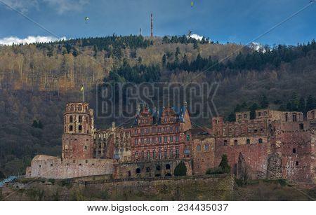 Gorgeous View Of The Heidelberg Castle Seen From The River Side Of Neckar, Heidelberg, Baden-wuertte